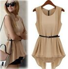New Women's round neck Irregular Vest Collect waist belted Chiffon Blouse shirt