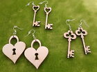 Wooden earrings natural plain wood for crafts decoupage key, heart lock