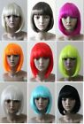 Black White Blonde Brown Red Pink Orange Blue Glam Blunt bob with fringe wig