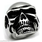 Skull Ace Silver Stainless Steel No Stone Mens Ring