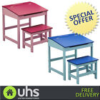 NEW Kids | Children Play Desk Table And Stool Set In Blue - Pink - Natural Brown