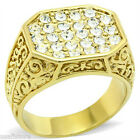 Filigree Design Crystal Stones Pave Gold EP Mens Ring