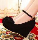 Ladies Faux Suede Round Toe Bow Tie Ankle Strap Platform Wedge Heel Shoes #528