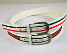 MENS PU LEATHER+STRIPED COLORFUL WEBBING CARGO CANVAS BELT STYLISH BRAND NEW