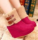 Ladies Winter Sweet Buckle Strap Wedge Ankle Boots Shoes Black/Red/Blue #1361