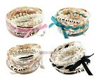 Set Of Korean Romatic Multilayer Braided Bow Faux Pearl Bead Bracelet Bangle