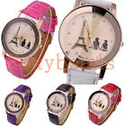 Unisex Women Men Eiffel Tower Couple Lover Leather Band Dial Quartz Analog Watch