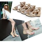 Sexy Womens Strappy Wedge Thong Sandals Comfy Roman Gladiator Shoes US5-US8.5