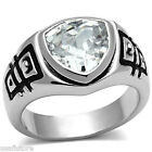 Ladies 4.7ct Rounded Triangle Shape CZ Rhodium Plated Ring