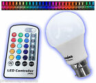 BC MULTI COLOURED LED RGB REMOTE CONTROL COLOUR CHANGING POWERSAVE LIGHT BULBS