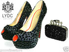 LYDC Designer Black Diamante Gem Crystal High Heel Prom Shoes Maching Clutch
