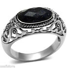 Mens Dark Blue Sand Stone Silver Stainless Steel Ring