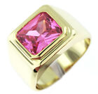 Pink Rose Solitaire 18kt Gold EP Emerald Cut Stone Mens Ring
