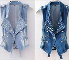 HOT Fashion Women Beads Denim Vest Ladies Jean Waistcoat Jean Vest,S/M/L/XL/XXL