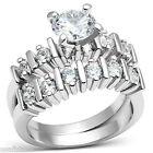1.35ct Round Cut Clear CZ  Rhodium EP Ladies Wedding Engagement Ring Set