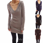 Cable Hooded V Neck Long Sleeve Pullover Fitted Knit Tunic Jumper Top