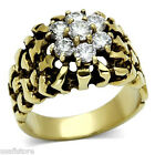 Seven Clear Roudn 0.52ct CZ Stones Gold EP Mens Nuggets Ring