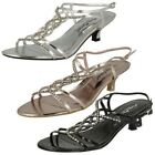 LADIES ANNE MICHELLE KITTEN HEEL TWISTED DIAMANTE TRIM SLINGBACK SANDAL L3879