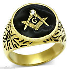 One Crystal Masonic Mason Round Black Top Gold EP Mens Stainless Steel Ring