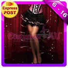 New Black with Pink Satin Burlesque Petticoat Moulin Rouge Costume Skirt