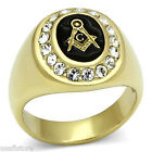 Mens Black Masonic Mason Logo Gold Plated Stainless Steel Ring R0