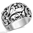 Filigree Design No Stone Silver White Gold EP Ladies Ring