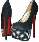 LYDC Ladies Designer High Heel Party Prom Diamante Peep Toe Black Suede Shoes