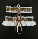 Mossy Oak Ivory Wedding Garter Set Camo Deer Charms Hunting Hunter & Plus Size