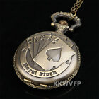 Vintage New Good Luck Royal Flush Fob Pocket Watch Necklace Locket Charm Chain