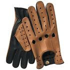 NEW TOP QUALITY REAL SOFT LEATHER MENS DRIVING GLOVES BLACK WITH TAN STAR - 507