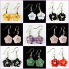 "18mm Carved rock gemstone rhinestone flower dangle earrings 0.7"" Wholesale"