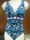 NWT GOTTEX One Piece Virginia Geo Print V Neck Tummy Tuck Tank Swimsuit Maillot