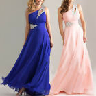 Formal Evening Ball Bridesmaid Prom Cocktail Dress Chiffon Beaded One Shoulder