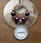 PERSONALISED WINE GLASS CHARMS WEDDING DAY CHOOSE COLOUR SCHEME TABLE PLACE NAME