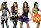 Ladies Sexy Halloween Fancy Dress Costume Neon Skeleton Witch Cat outfit Mask