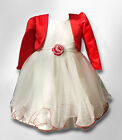 BABY GIRLS RED & IVORY BOLERO WEDDING FLOWER GIRL DRESSES AGE 3 TO 24 MONTHS