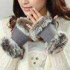 New 2015 ladies' wool Fingerless Gloves w/rabbit fur at both sides Y015