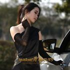 Long ruched cuff lace fingerless UV Protection Sun Block Bridal driving gloves