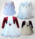 Baby Girls Wedding Dresses with Bolero Christening Flower Girl Dress 3 M to 24 M