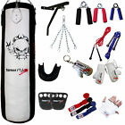 TurnerMAX 13 Piece Punch Boxing Set 4FT Filled Bracket Bag Gloves MMA Mauy Thai