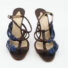 Alexandra Neel Pokaontas Brown Leather & Blue Feathers High Heel Sandals