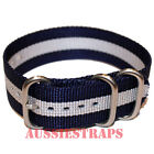 PREMIUM ZULU® 3 Ring NAVY SILVER Military Diver's watch strap band heavy duty