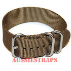 PREMIUM ZULU 3 Ring OLIVE BROWN 20mm,22mm,24mm Military Diver's watch strap band