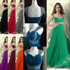 2014 Christmas Chiffon Beaded Long Prom Evening Party Bridesmaid Dress size6-18