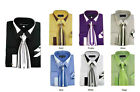 Men's French Cuff Dress Shirt with Tie And Handkerchief 7 Colors Size 15 20 SG34