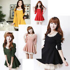 New Fashion Sweet Korean Slim Women Casual Peter pan collar Puff Lace Dress Q512