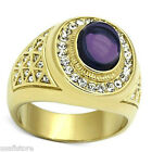 Mens Purple Dome Stone 18kt Gold Plated Stainless Steel Ring