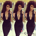 Womens Sexy Plunge V Neck Long Midi Party Black Pencil Bodycon Cocktail Dress