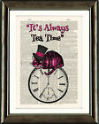 ANTIQUE BOOK PAGE DIGITAL ART PRINT Alice in Wonderland Cheshire Cat - Tea Time