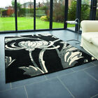 Flair Retro Classic Loretta Rug In Black And Grey- Various Sizes Available
